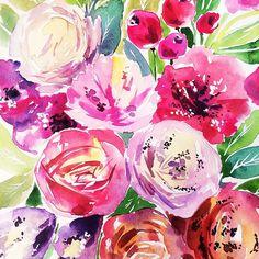 Новый день,новые цветы #vickyod #vickyodillustrations #art #watercolor #flowers #pink #natura #flora