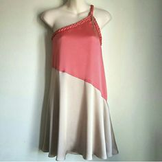 Orange and Beige One Shoulder Dress Excellent condition. Ready for shipping. Double Zero Dresses One Shoulder