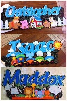 3 letreros de Nombres con distintos adornos | Fomiart Name Boards, Ideas Para Fiestas, Miguel Angel, Love Letters, Baby Room, Smurfs, Graffiti, Frozen, Baby Shower