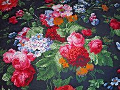 fb8de8c6eca1 Rare Ralph Lauren Isadora Cossette Black Floral King Flat Sheet French  Country  RalphLauren  FrenchCountry