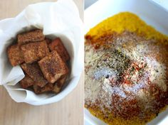 crispy coated tofu pieces with spices
