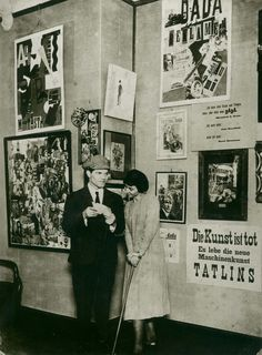Raoul Hausmann and Hannah Höch at the opening of the First International Dada Fair held at the Otto Burchard Gallery, Berlin, June 30, 1920. Photo by Robert Sennecke