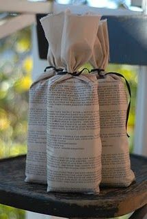 recipes printed on fabric bags.