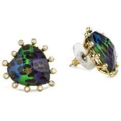 """Betsey Johnson """"Asian Jungle"""" Jungle Leopard Heart Stud Earrings"""