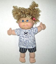 Cabbage Patch Doll Clothes Blue Flowers and Denim by Dakocreations