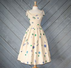 1950s SILK DRESS / Novelty SEASHELLS Rockabilly by lolanyevintage, $225.00