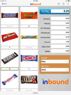 Example cash register form for iPad on inBound app.