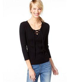 57543623c5 INC International Concepts Rib-Knit Lace-Up Sweater