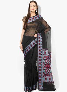 Buy Bunkar Black Embellished Saree for Women Online India, Best Prices, Reviews   BU651WA97ZOSINDFAS