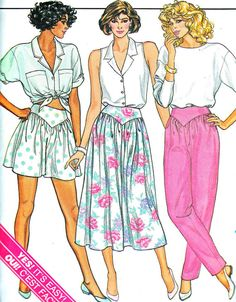 1980s Womens Yoked Pants Shorts Flared Skirt Tapered Pants Womens Vintage Sewing Pattern Butterick 3773 Waist 26 1/2 - 28 - 30
