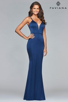 Define fabulous in Faviana S10012. This satin sheath features a plunging neckline, double spaghetti straps, and a waist defining satin strip. The back is completely open with the spaghetti straps criss-crossing and tying through the top's sides. Fabulous shape in fabulous colors for your next prom, pageant, or formal ball.