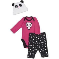 Gerber Newborn Girls' 3 Piece Panda Hat, Bodysuit and Pant Set