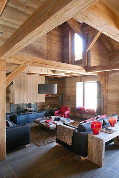 Contemporary cabin living room