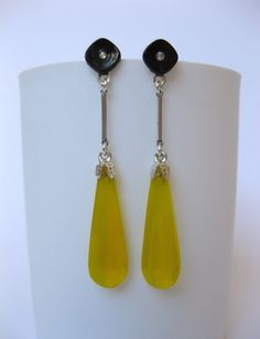 Gatsby Art Deco Vintage Czech Yellow Crystal Glass Hand Facetted Drop Black Cabochon Sterling Silver Metal Christmas Earrings Gift For Her by MillineryJewellery on Etsy