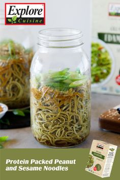 A toasty edamame sesame noodle dish cooked with peanut or almond butter, excellent for take-out substitute! Try these Protein Packed Peanut and Sesame Noodles with Explore Cuisine Edamame Spaghetti for a savory and sweet experience. Edamame Spaghetti, Noodle Dish, Sesame Noodles, Protein Pack, Noodle Recipes, Almond Butter, Plant Based Recipes, Recipe Using, Cucumber