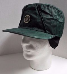 VTG 60's Mens Green Quilted Winter Farmer Hat Cap Large 7 1/4 With Ear Flaps #Unbranded