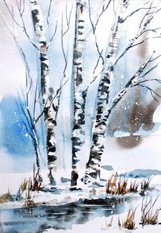 Watercolor time lapse videos winter spirit - painting demonstration
