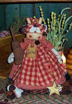 Items similar to Patti's Ratties Primitive Raggedy Cow Doll Churn Ornie Pattern on Etsy Primitive Patterns, Primitive Crafts, Cow Pattern, Pattern Paper, Scarecrow Doll, Old Dolls, Pink Elephant, Sewing Toys, Textiles