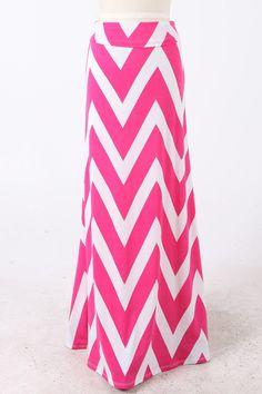 Pink & White Chevron Maxi Skirt