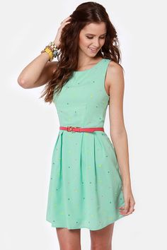Cute Mint Green Dress - Polka Dot Dress - Print Dress -     Again too short for me but I like the color and the colors all over it.    $48.00