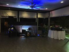 The Band and DJ Setup on the Verendah made feel for the perfect dance area all night long! #Dance #Wedding #FirstDance #DJ #Band #Reception