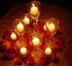 phantom of the opera centerpiece | Centerpiece with rose petals | phantom of the opera @MC Empsy so I know this isnt the original concept, but I figure we can keep our centerpiece bowl thingies and just add a couple of these in different places (remembrance/cake/gift tables?)