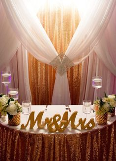 Mr and mrs wedding sign for wedding sweetheart table decorations mr gold freestanding mr mrs table signs for a ultra romantic wedding sweetheart table decor junglespirit Gallery