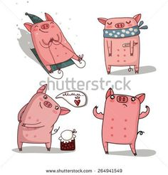 Find Holidays Pigs Set stock images in HD and millions of other royalty-free stock photos, illustrations and vectors in the Shutterstock collection. Pig Illustration, Illustrations, Pig Character, Character Design, Christmas Pictures, Christmas Art, Funny Animals, Cute Animals, Sweet Drawings