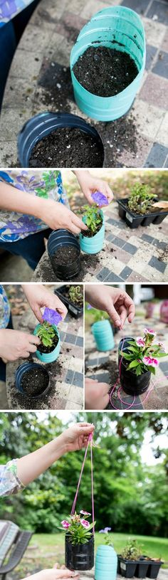 Make hanging planters from an old bottles