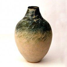 Betty Blandino :: Green and Cream stoneware vase :: Makers :: Bluecoat Display Centre