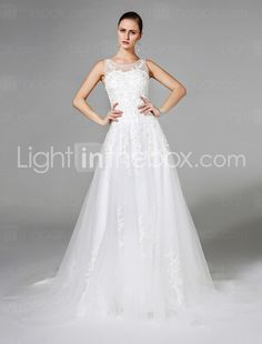 A-line Wedding Dress Sweep / Brush Train Scoop Tulle with Appliques / Beading / Crystal / Pearl 2017 - $179.99