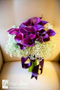 Calla lilly & baby's breath & orchids [more at pinterest.com/eventsbygab] Wedding Kiss, Purple Wedding, Floral Wedding, Our Wedding, Wedding Flowers, Wedding Ideas, Calla Lillies, Calla Lily, Purple Bouquets