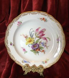 """Mauve Feather Tulip""   Meissen Dessert Plate with Gold Filigree  Rim #Meissen"