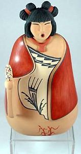 "Large Jemez Indian 12"" Corn Maiden Pottery by Maxine R Gachupin Toya 