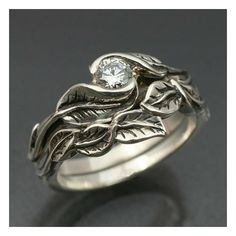 WEDDING RING SET -Delicate Leaf Engagement ring with matching Wedding... via Polyvore