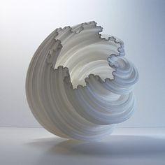 Geometric Spiral Snowflake 3D Printed Vase Modern Art White Geometric Vessel Fractal Accent decor interior design christmas gift (125.00 USD) by MeshCloud