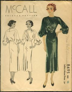 McCall 8495; ©1935; Ladies' & Misses' Dress. [insert your photos of this pattern made up]