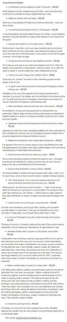 Sword Facts & Myths