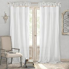 Add a light and airy feel to your home with the Elrene Jolie Crushed Semi-Sheer Tie Top Window Curtain Panel. With an elegant crushed texture and long tie-top loops, the semi-sheer panels let light shine in while also providing privacy. Tie Top Curtains, Sheer Curtain Panels, White Curtains, Window Panels, Window Curtains, Country Curtains, Torn Curtain, Boho Curtains, Rustic Curtains