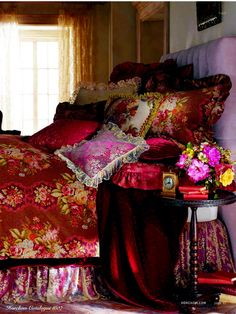 So in love with this Tapestry Bedding; room,colors,  velvet!, flowers.