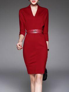 Shop Midi Dresses - Symmetric Elegant 3/4 Sleeve Midi Dress online. Discover unique designers fashion at StyleWe.com.