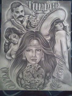 Chicano Art Tattoos, Chicano Drawings, Prison Drawings, Aztec Drawing, Arte Lowrider, Aztecas Art, Marilyn Monroe Artwork, Mexican Art Tattoos, Mexican Artwork