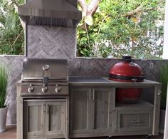 Outdoor Kitchen, Dual Grill Cabinet, Custom Grill Tables, Mini Fridge Bar Cart, and Outdoor Patio Furniture Table Grill, Grill Cart, A Table, Akorn Grill, Patio Tables, Dining Table, Kitchen Grill, Kitchen Island, Kitchen Appliances