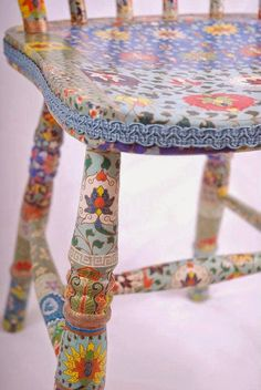 blue wooden chair decoupage upcycled Tallulah by kitschemporium, Painted Chairs, Hand Painted Furniture, Funky Furniture, Repurposed Furniture, Furniture Projects, Furniture Makeover, Decoupage Chair, Decoupage Paper, Loin
