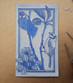 Its taking shape. #linocut #linoprint #reliefprint #bluetits #wip #keyblock