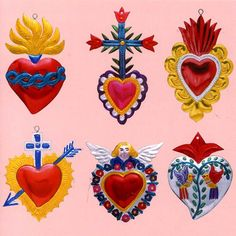 Mexican Miracle Charms - Devoted people in Mexico, go to church and attach little metal charms to an image of a chosen Saint to ask for protection or help, these small metal charms come in many shapes depending on each person needs. The Sacred Heart of Jesus and the Immaculate Heart of Mary are traditional Roman Catholic devotional images, a person in love and in need of help with a relationship or a heart condition would choose a heart shaped charm to ask for help.