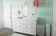 Project Nursery - Nursery with Mint Striped Accent Wall - Project Nursery