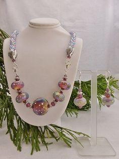 Set  lilla rosa blu e argento Murano e Kumihimo di GrnEydDesigns