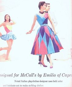 1950s Emilio Pucci HARLEQUIN Dress Pattern ULTRA RARE McCalls 3980 Vintage Sewing Pattern Two Piece Dress Designed  by Pucci of Capri Bust 32 FACTORY FOLDED