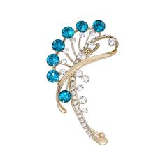Unique Jewelry Silver-tone Blue Crystal Art Deco Flower Peacock Right Side Ear Cuff Ear Wrap Earring